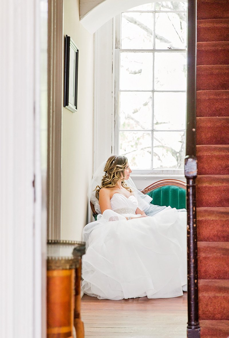 Wedding dress and bride in at Thomas Bennett House in Charleston Charleston wedding photographer Leah Marie Photography + Stationery