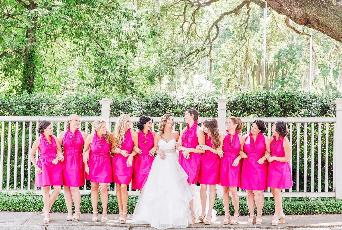 hot pink bridesmaids dresses Charleston wedding photographer Leah Marie Photography + Stationery
