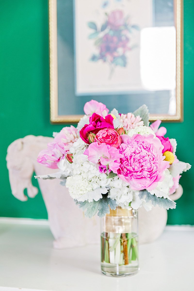 Peony bouquet at Thomas Bennett House in Charleston Charleston wedding photographer Leah Marie Photography + Stationery