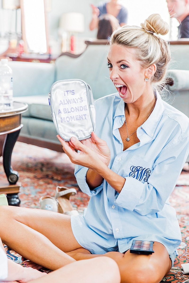 Bridesmaid in monogram pajamas at Thomas Bennett House in Charleston Charleston wedding photographer Leah Marie Photography + Stationery