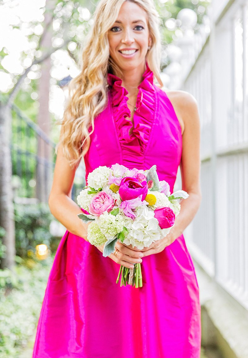 Hot Pink bridesmaids dress and peony bouquet Charleston wedding photographer Leah Marie Photography + Stationery