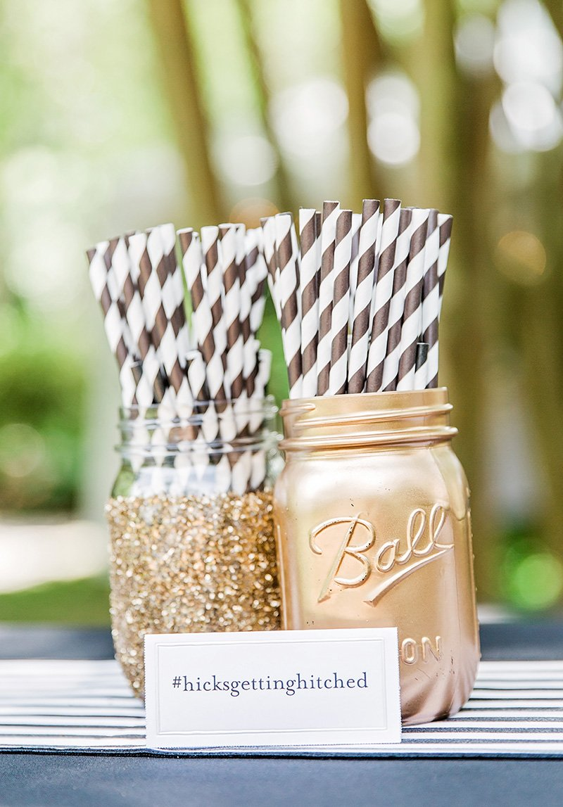 Gold mason jars for wedding at Thomas Bennett House in Charleston Charleston wedding photographer Leah Marie Photography + Stationery
