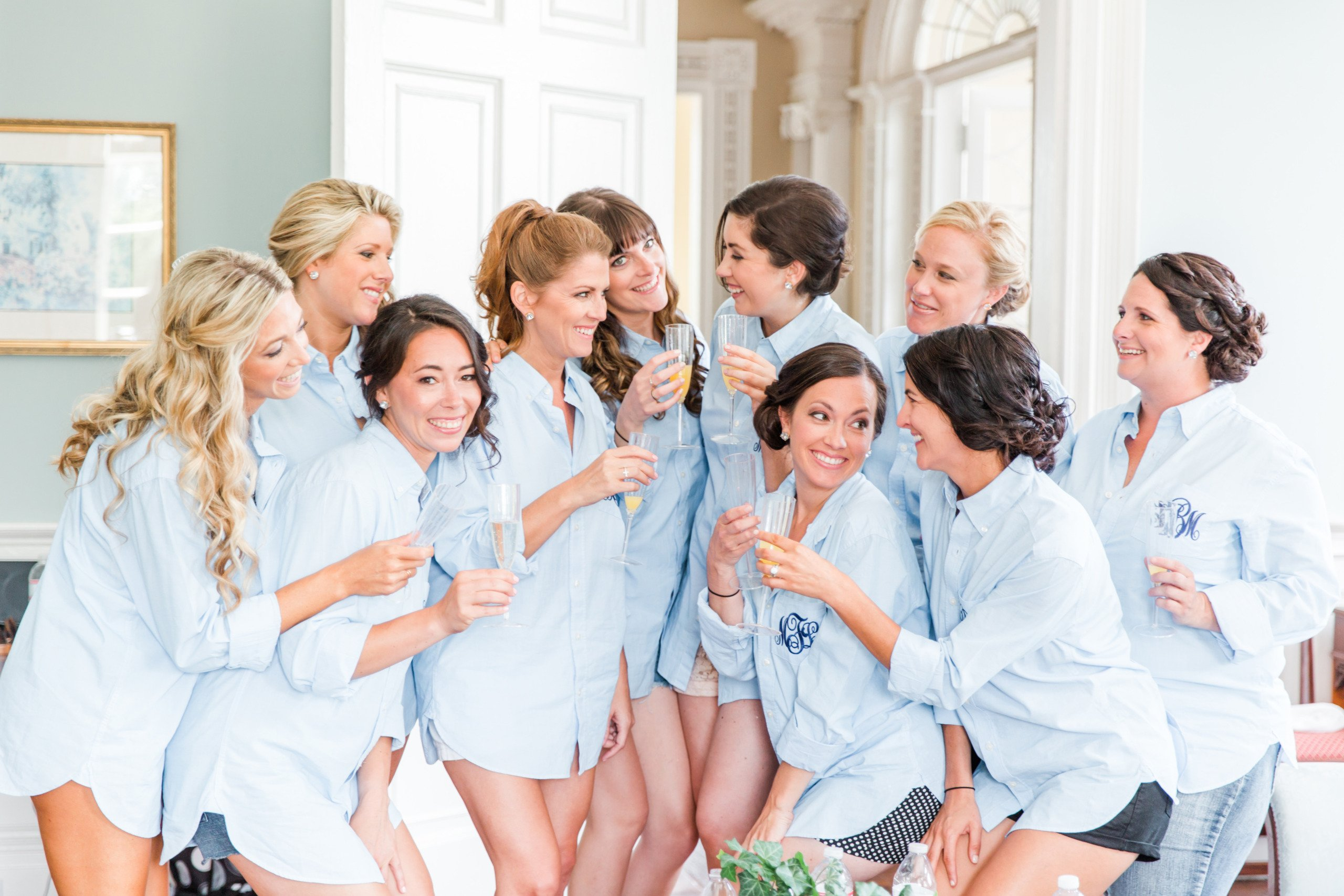 pajamas with monograms for wedding and bridesmaids