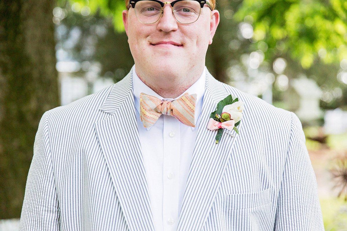 Bowtie and seersucker wedding suit