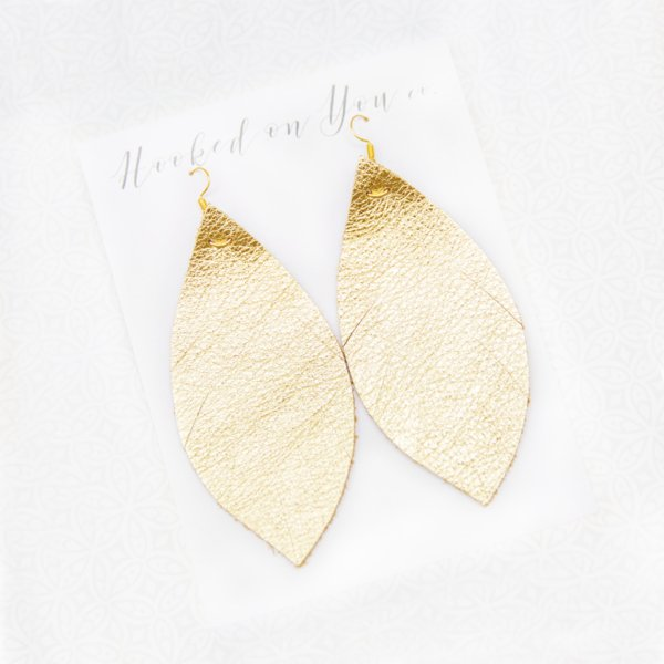 Gold Leather Earrings 777