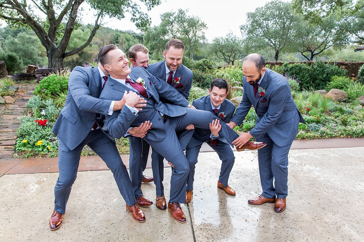 Groomsmen in blue suits San Jose wedding photographer Leah Marie Photography + Stationery