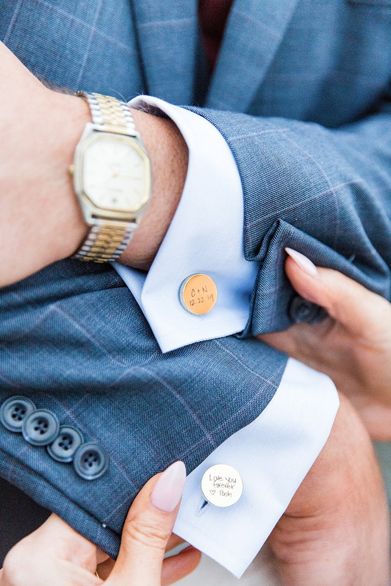 Custom wedding cufflinks San Jose wedding photographer Leah Marie Photography + Stationery