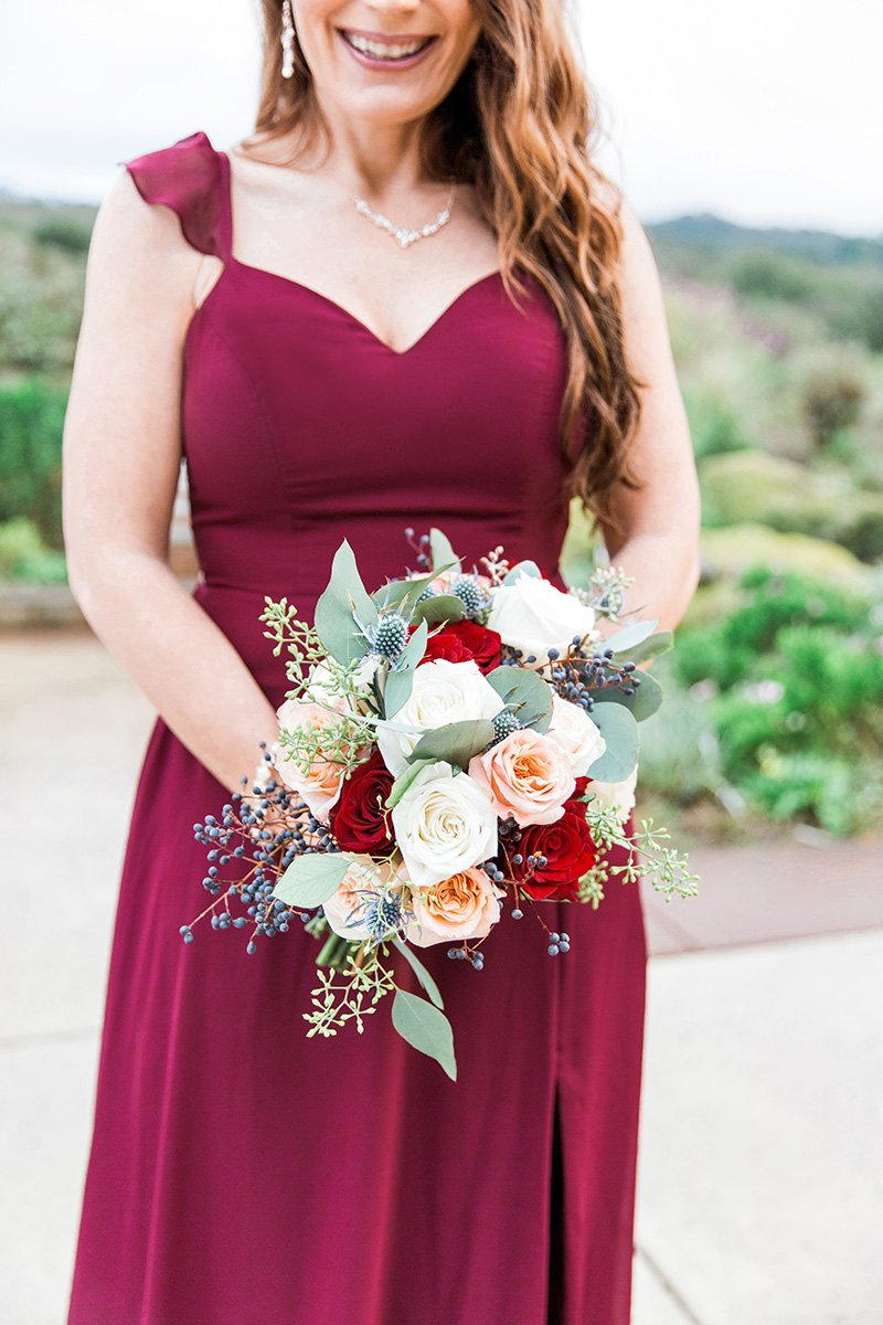 Bridesmaids dress and wedding bouquet Rustic wedding sign San Jose wedding photographer Leah Marie Photography + Stationery