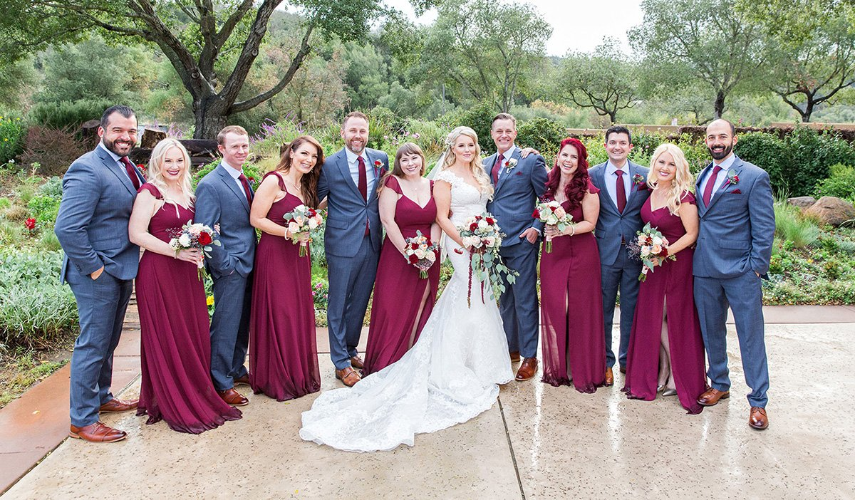Wedding party in red dresses San Jose wedding photographer Leah Marie Photography + Stationery