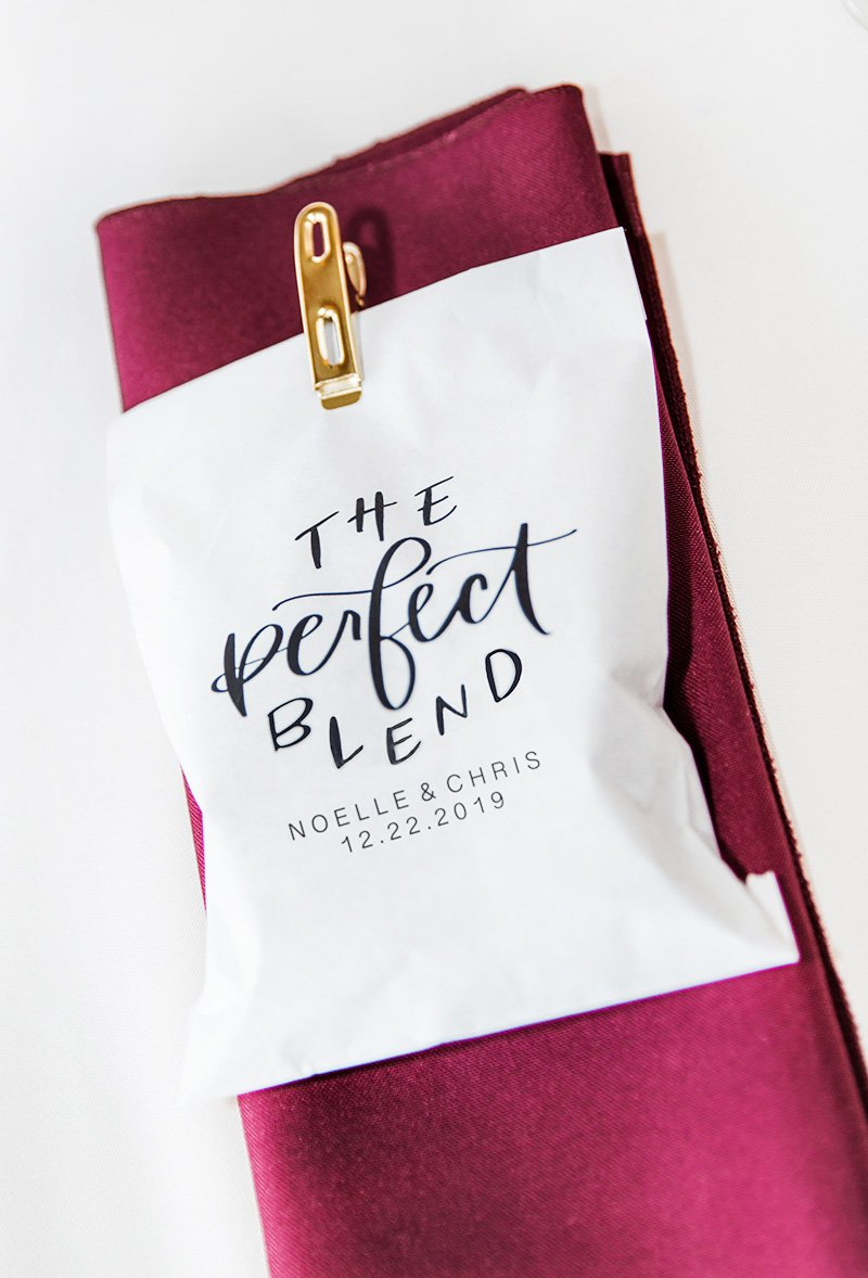 Wedding favors of coffee beans San Jose wedding photographer Leah Marie Photography + Stationery